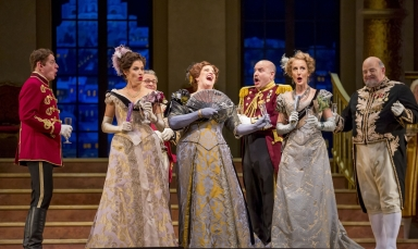 """11/11/15 1:11:27 PM -- The Lyric Opera of Chicago Presents """"The Merry Widow"""" Renée Fleming, Nicole Cabell, and Thomas Hampson © Todd Rosenberg Photography 2015"""